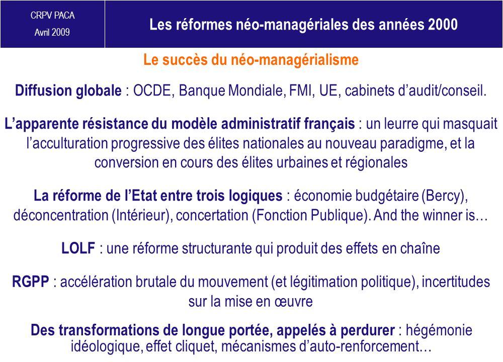 Les réformes néo-managériales des années 2000
