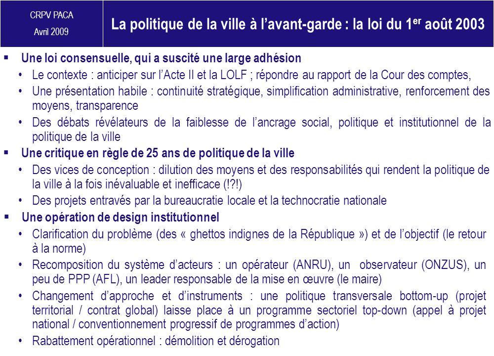 La politique de la ville à l'avant-garde : la loi du 1er août 2003
