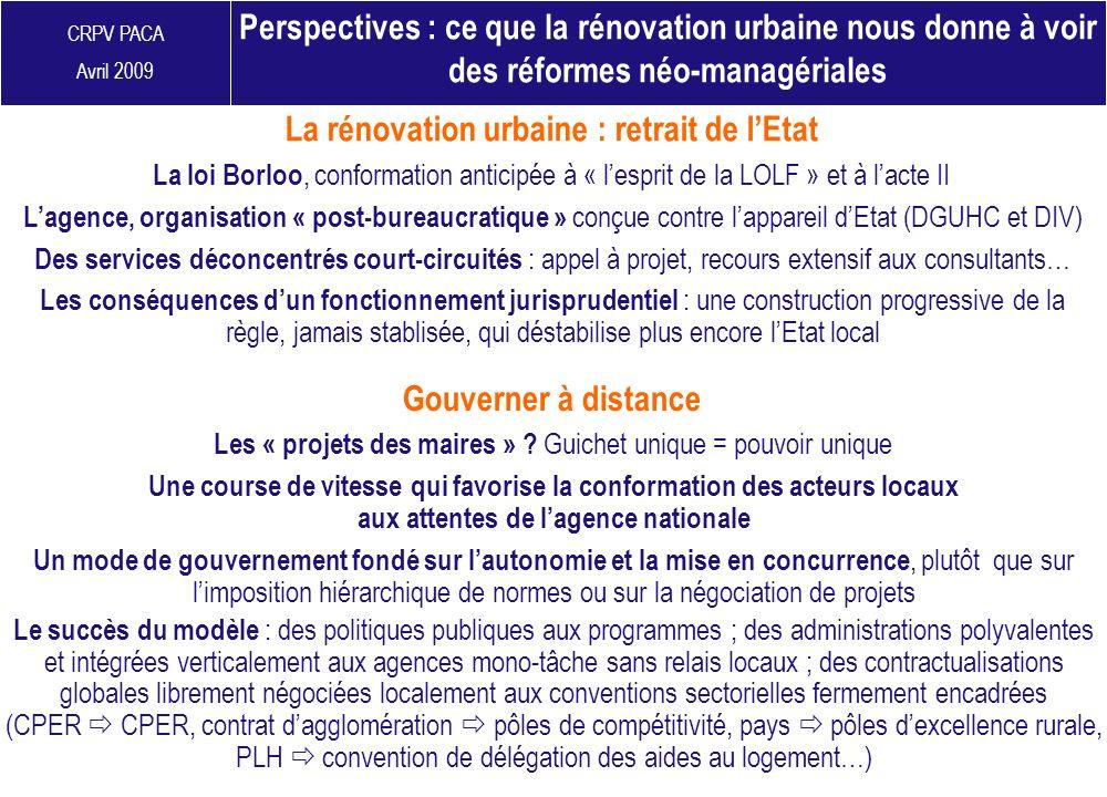 La rénovation urbaine : retrait de l'Etat