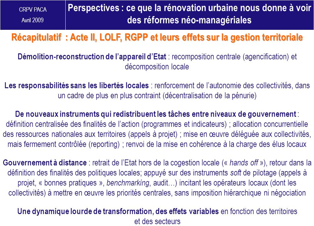 Perspectives : ce que la rénovation urbaine nous donne à voir des réformes néo-managériales