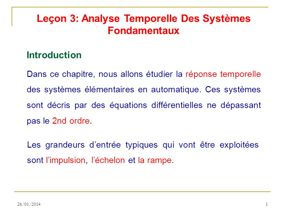 Leçon 3: Analyse Temporelle Des Systèmes