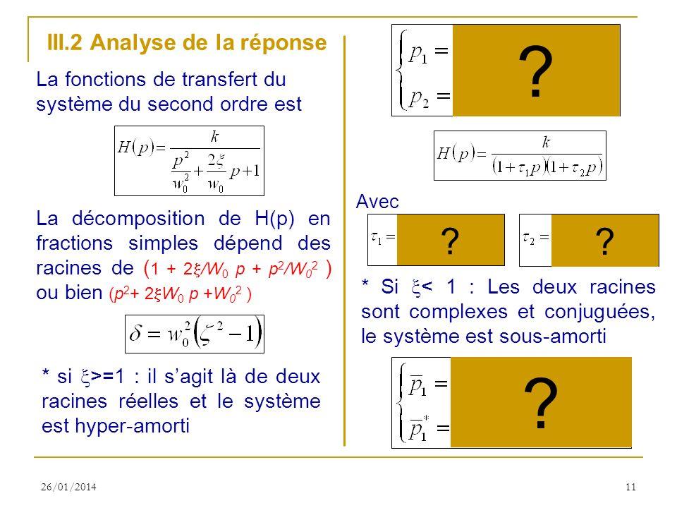 III.2 Analyse de la réponse