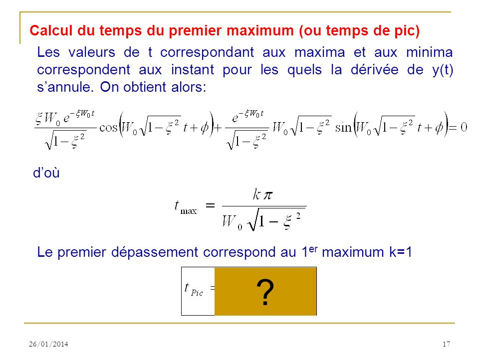 Calcul du temps du premier maximum (ou temps de pic)