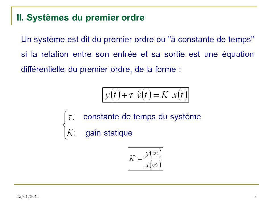 II. Systèmes du premier ordre