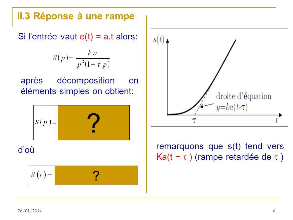 II.3 Réponse à une rampe Si l'entrée vaut e(t) = a.t alors: