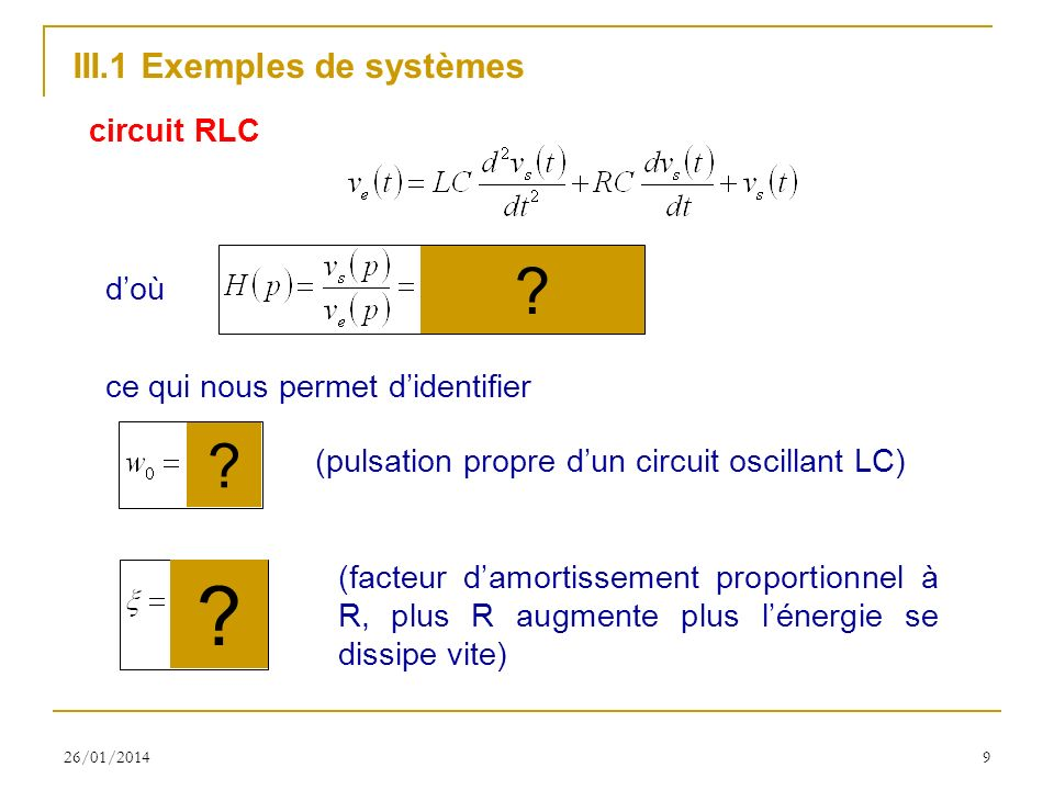III.1 Exemples de systèmes circuit RLC d'où