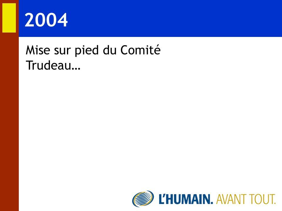 2004 Mise sur pied du Comité Trudeau…