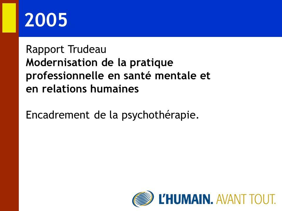 2005 Rapport Trudeau. Modernisation de la pratique professionnelle en santé mentale et en relations humaines.