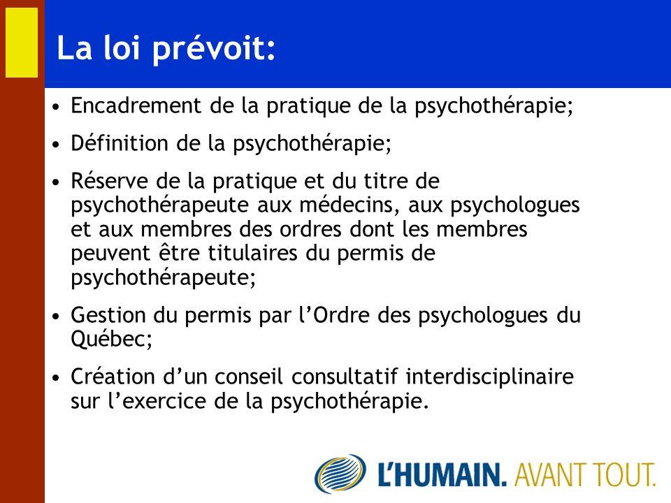 La loi prévoit: Encadrement de la pratique de la psychothérapie;
