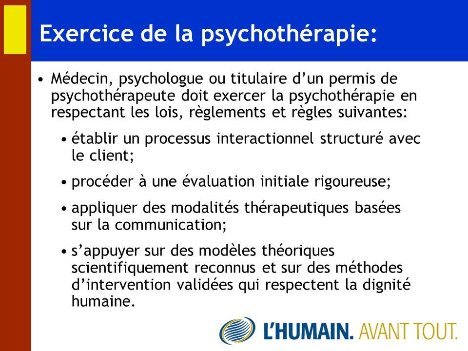 Exercice de la psychothérapie: