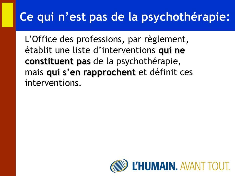 Ce qui n'est pas de la psychothérapie: