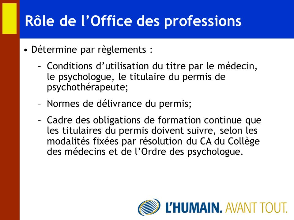 Rôle de l'Office des professions