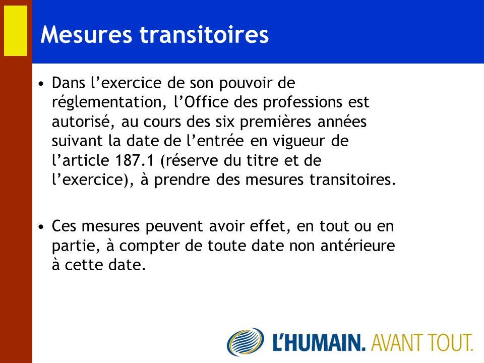 Mesures transitoires