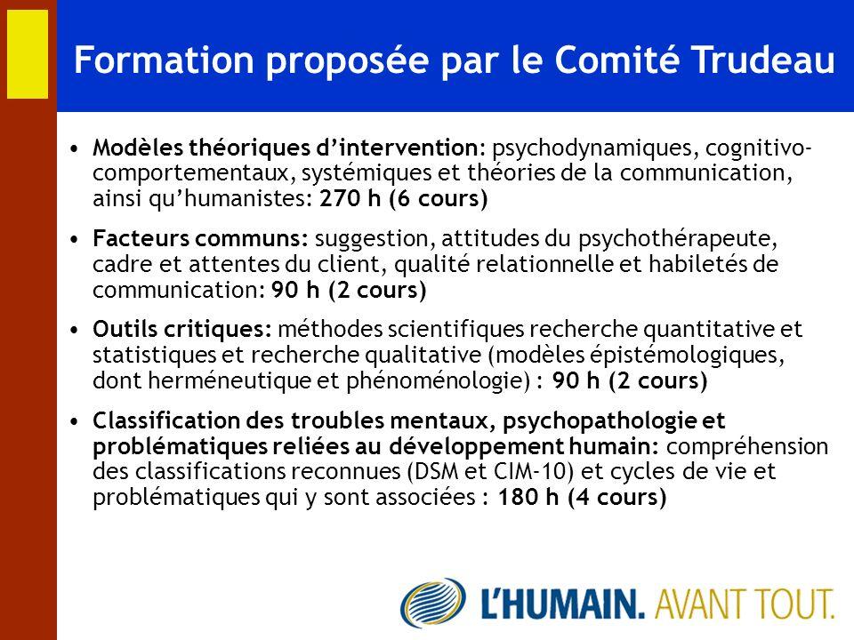 Formation proposée par le Comité Trudeau