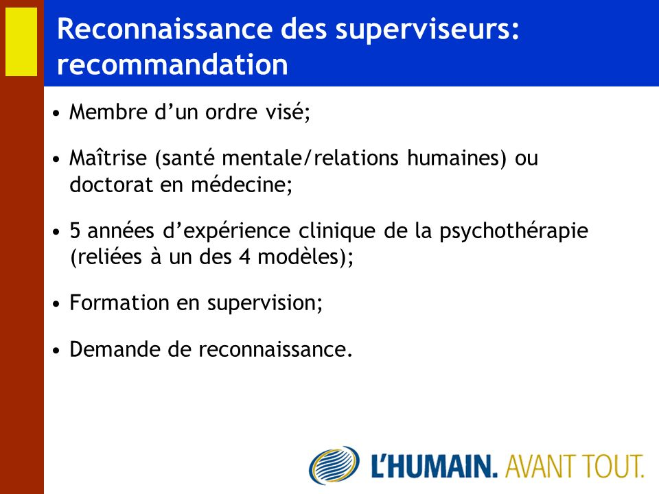Reconnaissance des superviseurs: recommandation