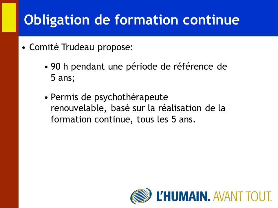 Obligation de formation continue