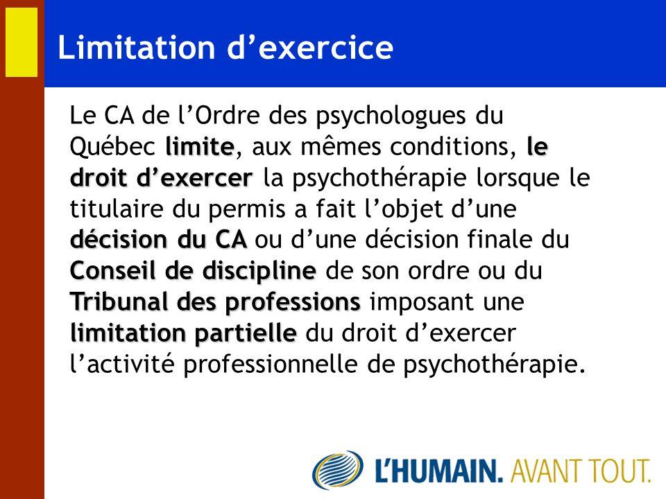 Limitation d'exercice
