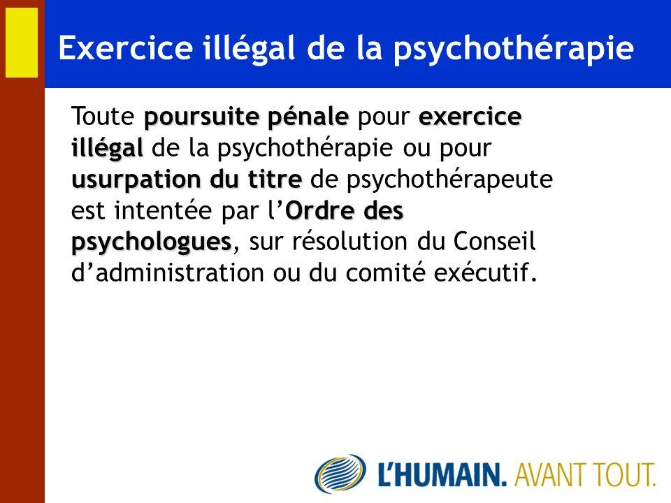 Exercice illégal de la psychothérapie