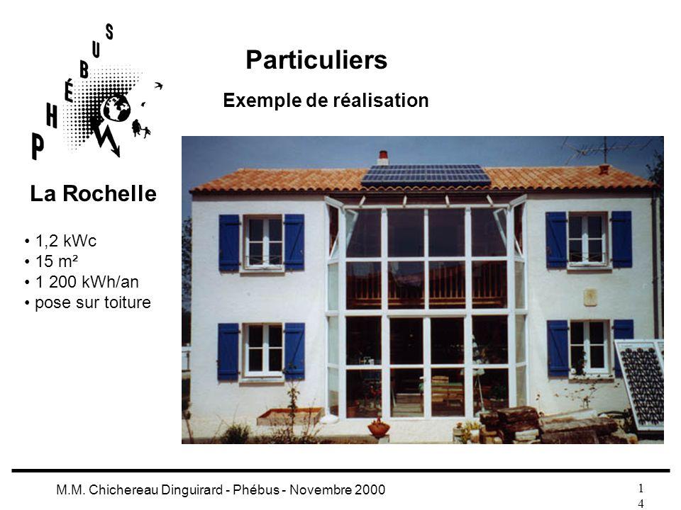 Particuliers La Rochelle Exemple de réalisation 1,2 kWc 15 m²