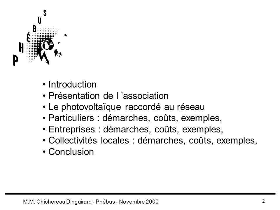 Introduction Présentation de l 'association. Le photovoltaïque raccordé au réseau. Particuliers : démarches, coûts, exemples,