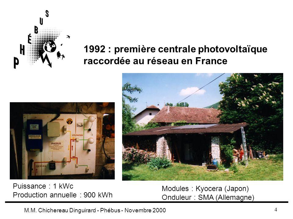 1992 : première centrale photovoltaïque raccordée au réseau en France
