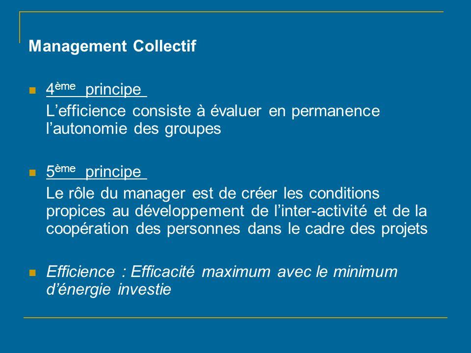 Management Collectif 4ème principe L'efficience consiste à évaluer en permanence l'autonomie des groupes.