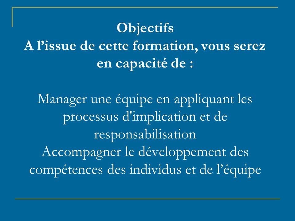 Objectifs A l'issue de cette formation, vous serez en capacité de : Manager une équipe en appliquant les processus d implication et de responsabilisation Accompagner le développement des compétences des individus et de l'équipe