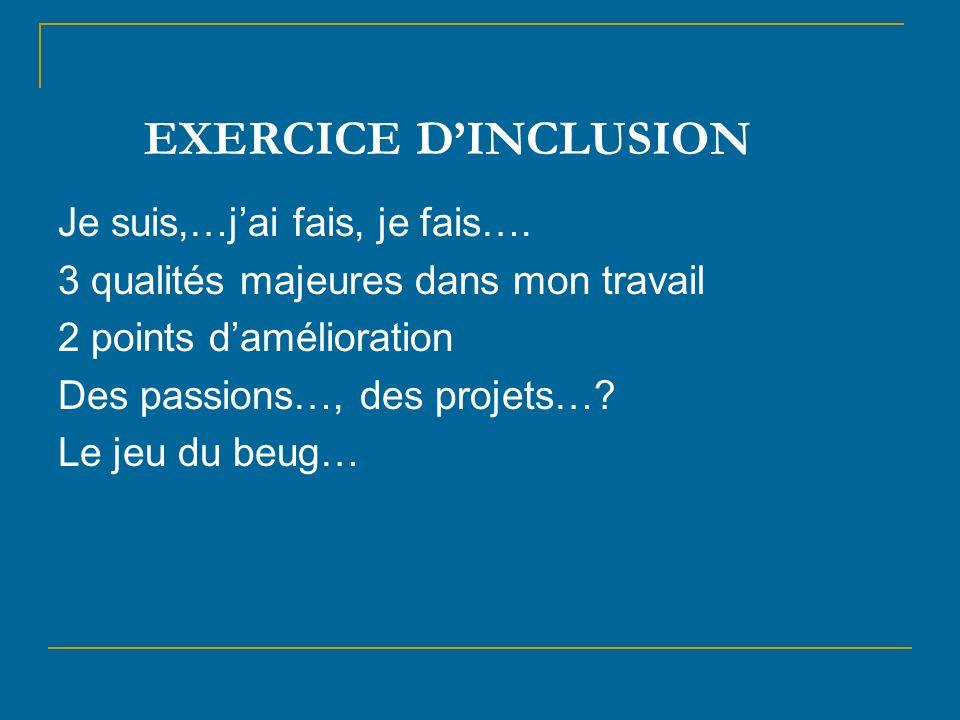 EXERCICE D'INCLUSION Je suis,…j'ai fais, je fais….