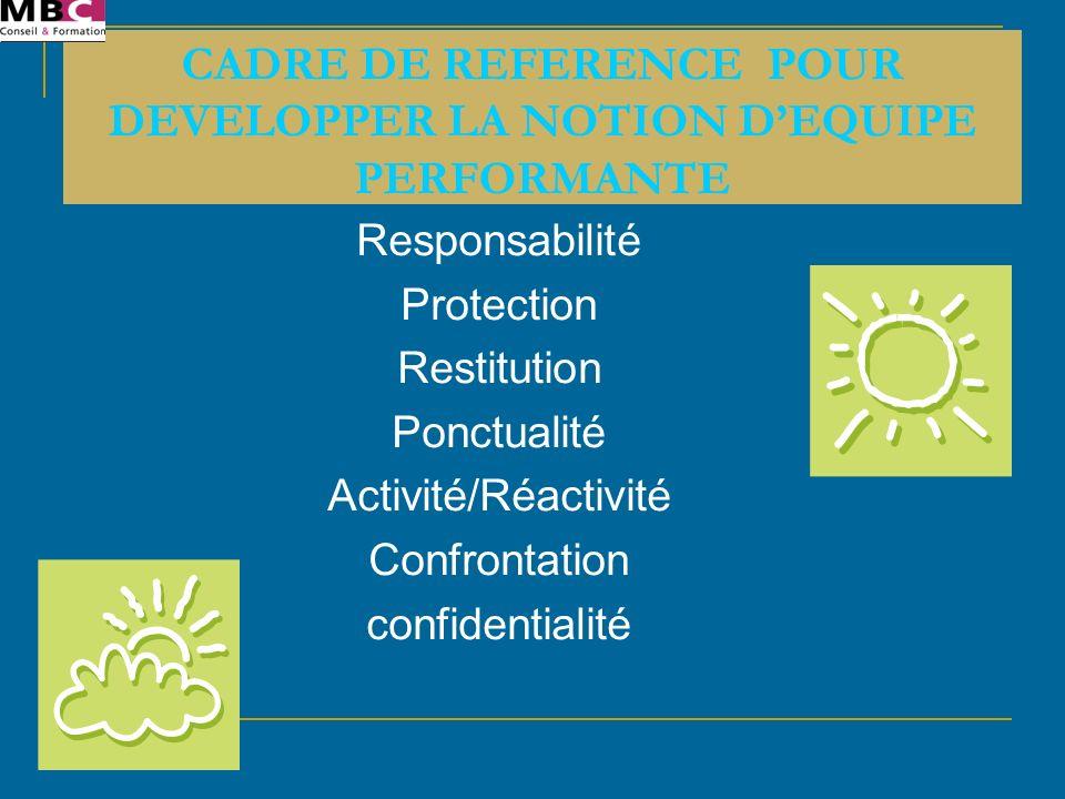 CADRE DE REFERENCE POUR DEVELOPPER LA NOTION D'EQUIPE PERFORMANTE