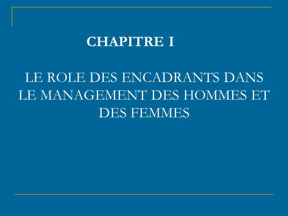 CHAPITRE I LE ROLE DES ENCADRANTS DANS LE MANAGEMENT DES HOMMES ET DES FEMMES