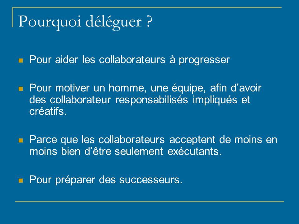 Pourquoi déléguer Pour aider les collaborateurs à progresser