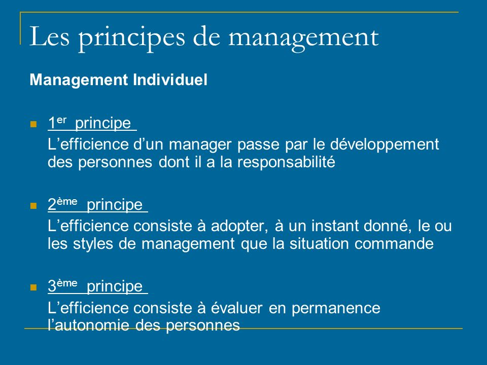 Les principes de management