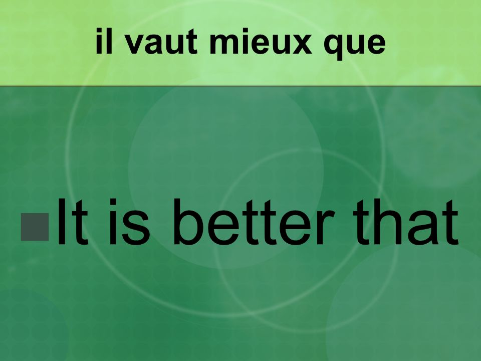 il vaut mieux que It is better that