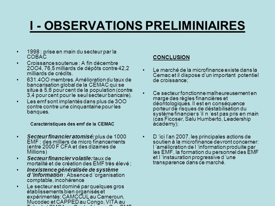 I - OBSERVATIONS PRELIMINIAIRES