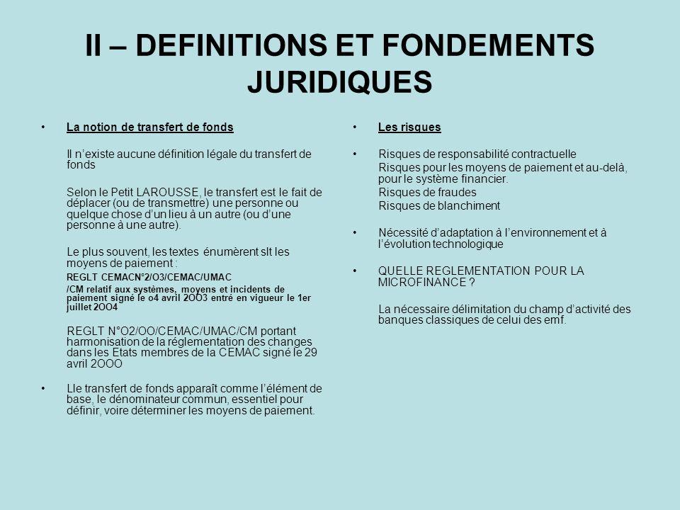 II – DEFINITIONS ET FONDEMENTS JURIDIQUES