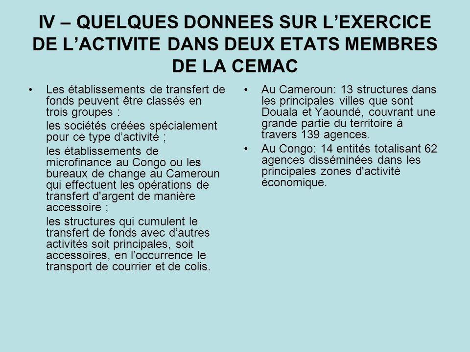 IV – QUELQUES DONNEES SUR L'EXERCICE DE L'ACTIVITE DANS DEUX ETATS MEMBRES DE LA CEMAC