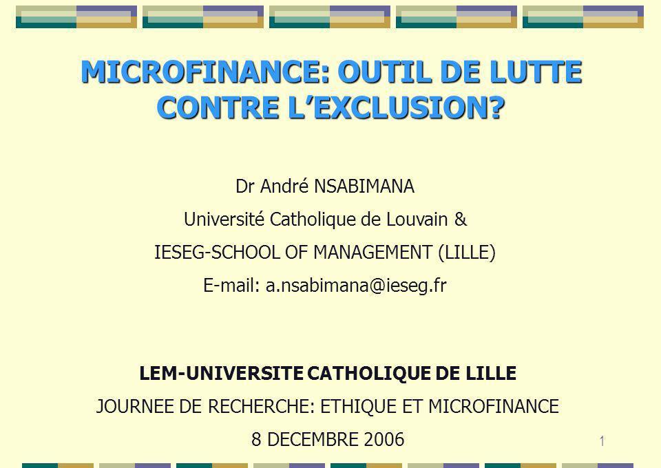 MICROFINANCE: OUTIL DE LUTTE CONTRE L'EXCLUSION