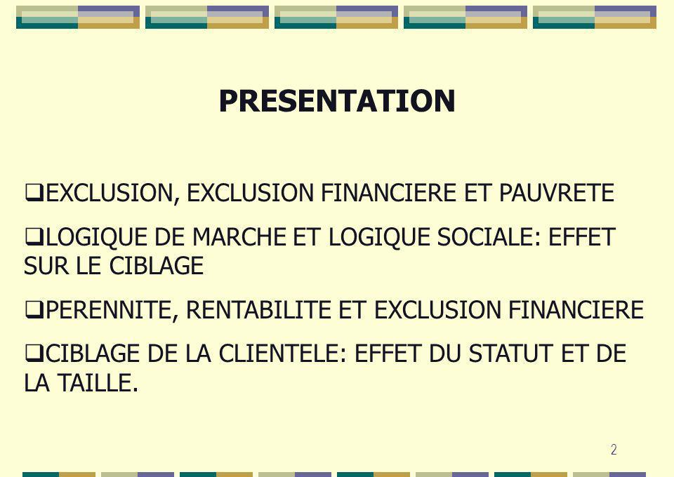 PRESENTATION EXCLUSION, EXCLUSION FINANCIERE ET PAUVRETE