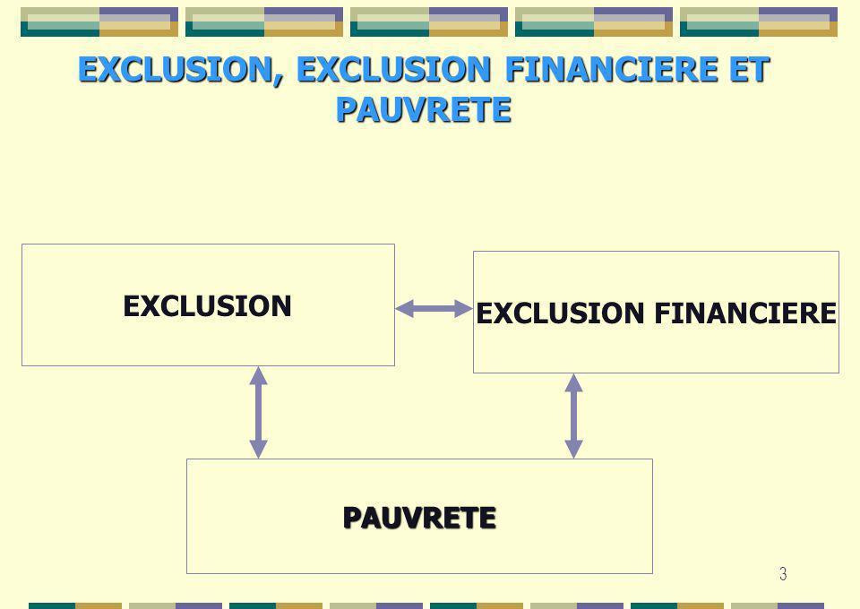 EXCLUSION, EXCLUSION FINANCIERE ET PAUVRETE