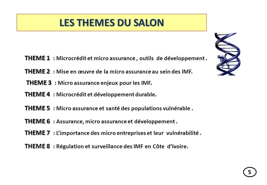 LES THEMES DU SALON THEME 1 : Microcrédit et micro assurance , outils de développement .