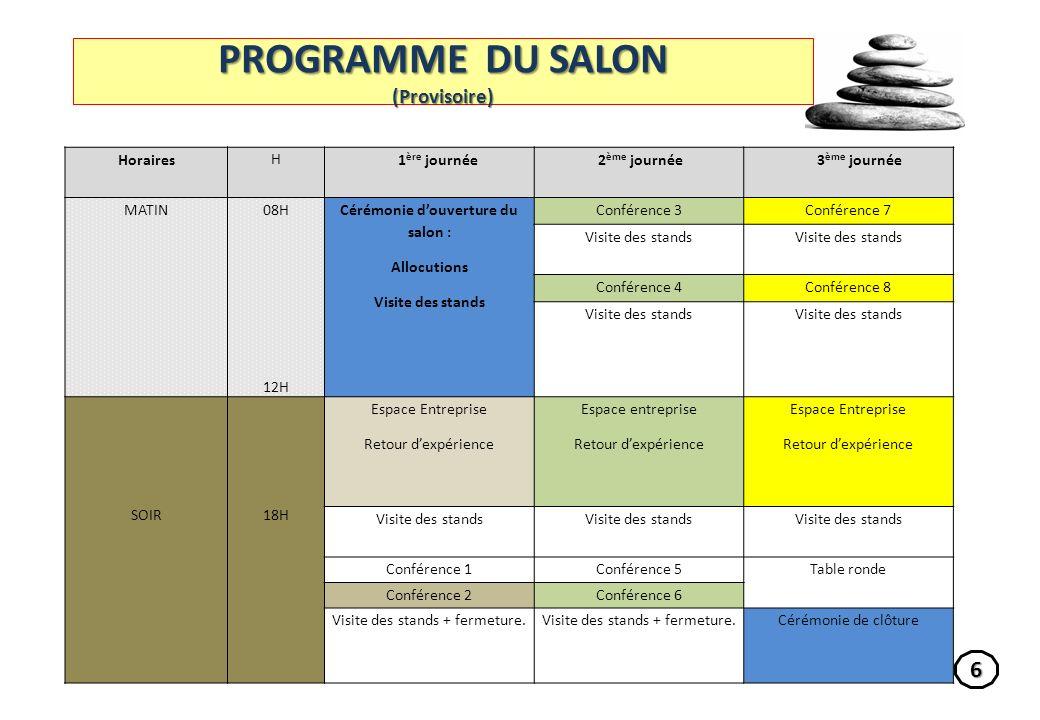 PROGRAMME DU SALON (Provisoire)