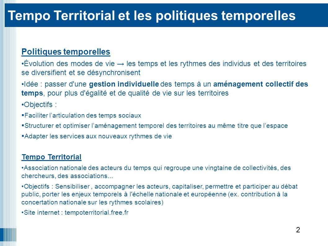 Tempo Territorial et les politiques temporelles