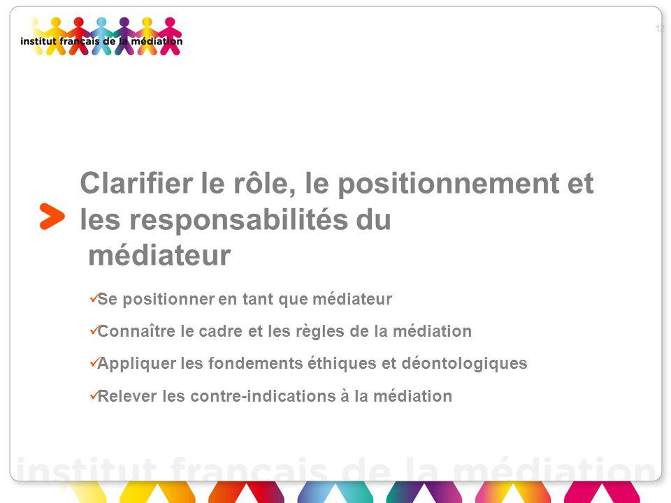 Clarifier le rôle, le positionnement et les responsabilités du médiateur
