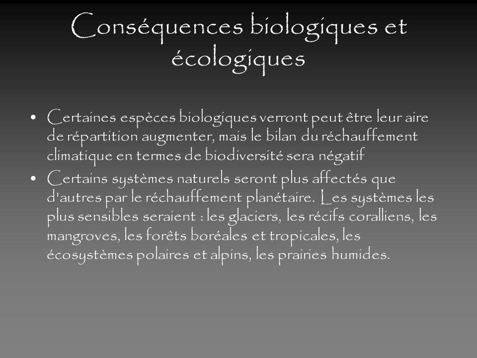 Conséquences biologiques et écologiques
