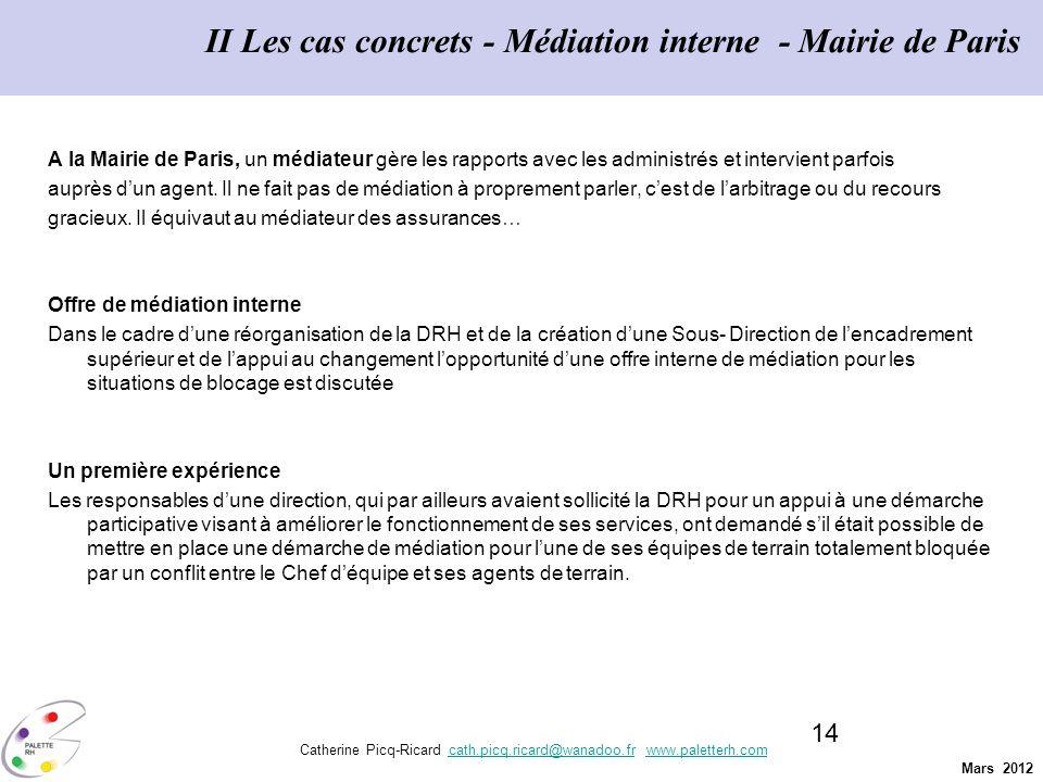 II Les cas concrets - Médiation interne - Mairie de Paris