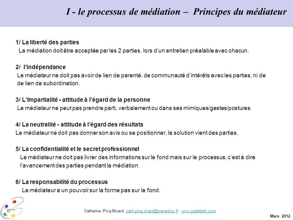 I - le processus de médiation – Principes du médiateur