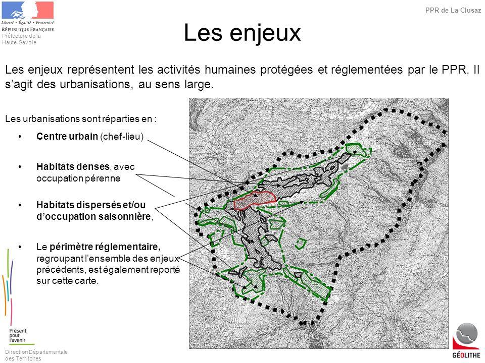 Les enjeuxLes enjeux représentent les activités humaines protégées et réglementées par le PPR. Il s'agit des urbanisations, au sens large.