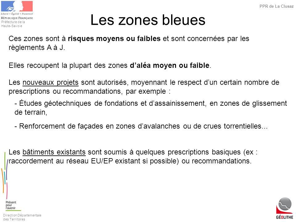 Les zones bleuesCes zones sont à risques moyens ou faibles et sont concernées par les règlements A à J.