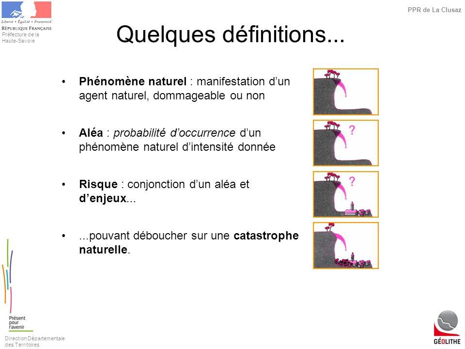 Quelques définitions... Phénomène naturel : manifestation d'un agent naturel, dommageable ou non.
