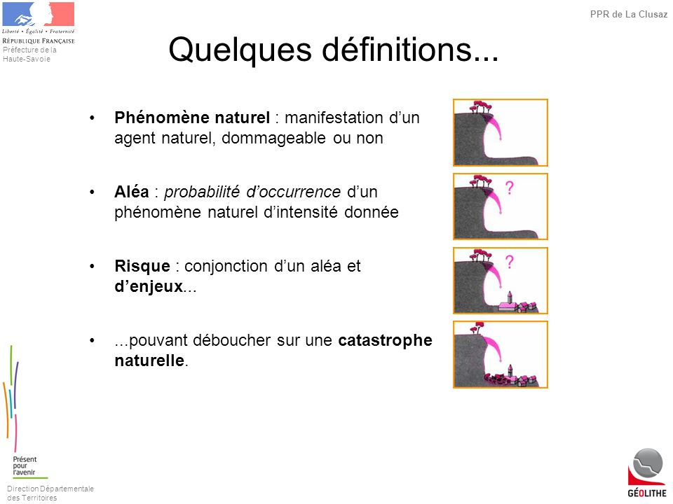 Quelques définitions...Phénomène naturel : manifestation d'un agent naturel, dommageable ou non.